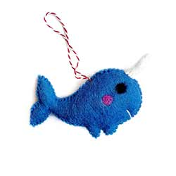 Narwhal Wool Ornament