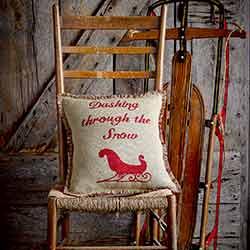 Natural & Red Burlap Sleigh Pillow (16x16)