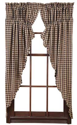 Navy Check Prairie Curtain (63 inch)
