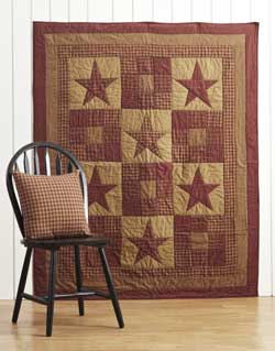 Ninepatch Star Quilted Throw