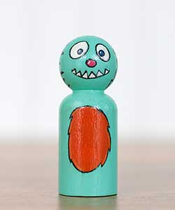 Blue Monster Peg Doll (or Ornament)