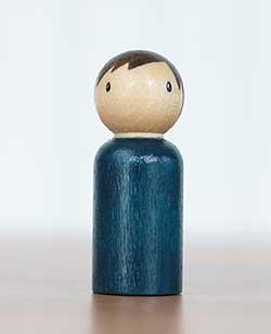 Simple Blue Boy Peg Doll (or Ornament)