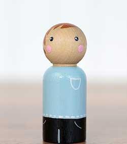 Light Blue Boy Peg Doll (or Ornament)