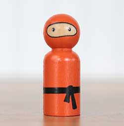 Ninja Peg Doll - Orange (or Ornament)
