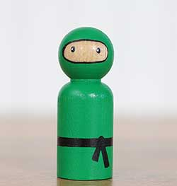 Ninja Peg Doll - Green (or Ornament)