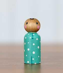 Aqua Polka Dot Peg Doll Baby (or Ornament)