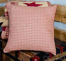 Burgundy & Tan Plaid 16 inch Pillow Cover