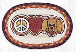 OMSP-471 Bow Wow Peace, Love, Puppy Braided Oval Trivet