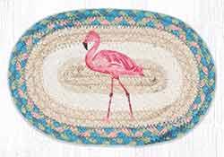 OMSP-586 Pink Flamingo Braided Oval Trivet