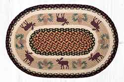 Moose & Pine Cones 20 x 30 inch Braided Rug