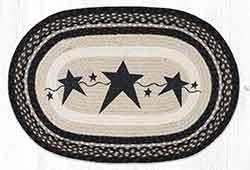 Primitive Stars Black 20 x 30 inch Braided Rug