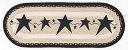 OP-313 Primitive Stars Black 36 inch Braided Table Runner