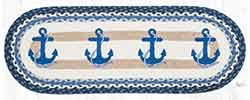 OP-443 Navy Anchor 36 inch Braided Table Runner