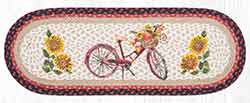 OP-602 Red Bicycle 36 inch Braided Table Runner