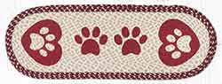OP-9-117 Heart Paws 36 inch Braided Table Runner