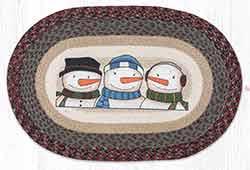 OP-9-118 Three Snowmen 20 x 30 inch Braided Rug