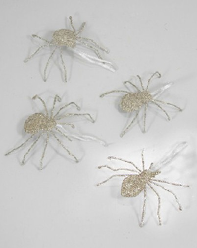 Glittered Spider Ornament - Silver