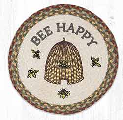 Bee Happy Round Braided Placemat