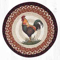 Rustic Rooster Round Braided Placemat