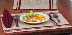 Burlap Red Stripe Placemat (Set of 6)