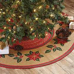Poinsettia Jute 50 inch Tree Skirt