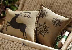 Prancer Pillows (Set of 2) - Reindeer/Snowflake