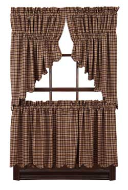 Prescott Brown Plaid Cafe Curtains - 24 inch Tiers