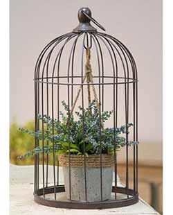 Birdcage with Jute and Cement Plant Holder - Large