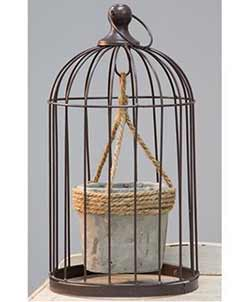 Birdcage with Jute and Cement Plant Holder - Medium