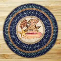 Sea Shells Braided Jute Rug - Round