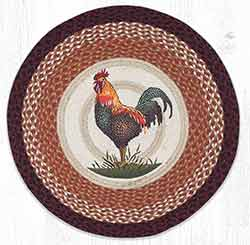 RP-471 Rustic Rooster Round Braided Rug