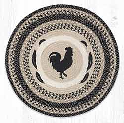 RP-9-93 Rooster Feathers Round Braided Rug