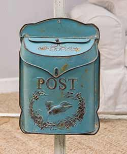Distressed Blue Postal Wall Box with Bird