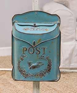 Distressed Blue Postal Wall Box with Bird