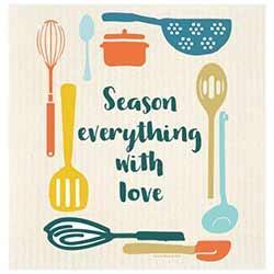 Season Everything with Love Swedish Dishcloth