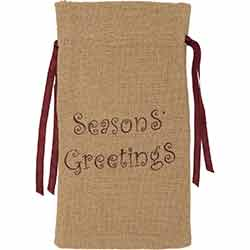 Seasons Greetings Burlap Natural Wine Bag