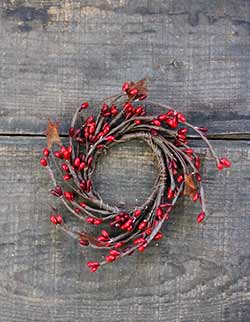 Red & Burgundy Pip Berry Candle Ring with Stars - 2 inch
