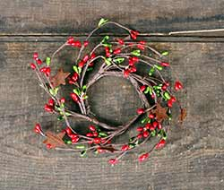Red & Green Pip Berry Candle Ring with Stars - 2 inch