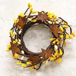 Yellow & Ivory Pip Berry Candle Ring with Stars - 2 inch