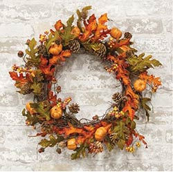 Harvest Oak Leaves & Acorns Wreath