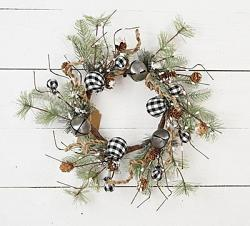 Black & White Country Gingham Bells 17 inch Wreath