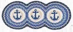 TCP-443 Navy Anchor Braided Tri Circle Table Runner