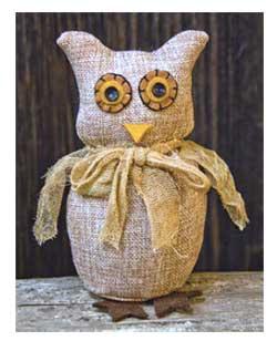 Primitive Burlap Owl Doll