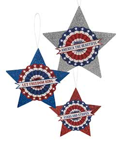 Large Americana Glittered Stars (Set of 3)