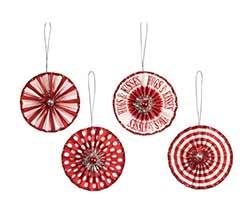 Valentine Rosette Ornaments (Set of 4)