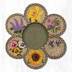 Flowers Braided Jute Trivet Set
