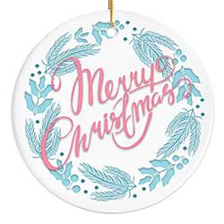 Retro Merry Christmas Wreath Personalized Ornament