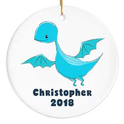 Blue Dinosaur Personalized Ornament