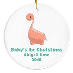Orange Dinosaur Personalized Ornament