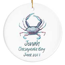 Watercolor Blue Crab Personalized Ornament
